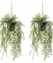 Hobby x groene bamboe kunstplanten hangende pot