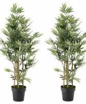 Hobby x groene bamboe kunstplanten zwarte plastic pot