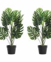 Hobby x groene monstera gatenplanten kunstplanten zwarte pot