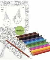 Hobby x knutsel papieren feesthoedjes om te kleuren incl potloden