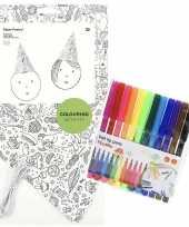 Hobby x knutsel papieren feesthoedjes om te kleuren incl stiften