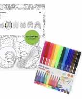 Hobby x knutsel papieren maskers om te kleuren incl stiften