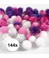 Hobby x knutsel pompons mm wit paars 10107814