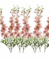 Hobby x kunstbloemen ridderspoor takken roze 10162103