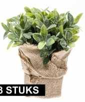 Hobby x kunstplanten munt kruiden groen jute pot 10145248