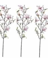 Hobby x licht roze magnolia beverboom kunsttak kunstplant 10159844