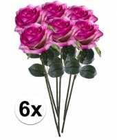 Hobby x paars roze rozen simone kunstbloemen 10107295