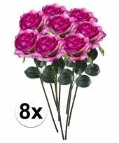 Hobby x paars roze rozen simone kunstbloemen 10107296
