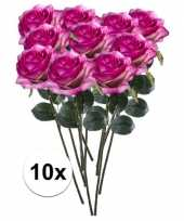 Hobby x paars roze rozen simone kunstbloemen 10107297