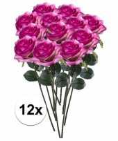 Hobby x paars roze rozen simone kunstbloemen 10107298
