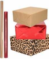 Hobby x rollen kraft inpakpapier pakket dieren metallic rood bruin