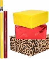 Hobby x rollen kraft inpakpapier pakket dieren metallic rood geel