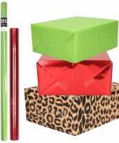 Hobby x rollen kraft inpakpapier pakket dieren metallic rood groen 10299101