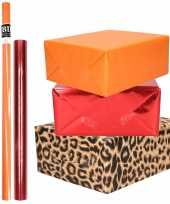 Hobby x rollen kraft inpakpapier pakket dieren metallic rood oranje