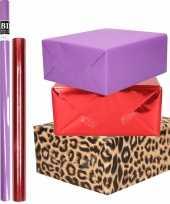 Hobby x rollen kraft inpakpapier pakket dieren metallic rood paars 10299189