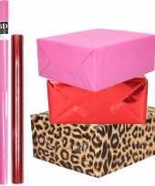 Hobby x rollen kraft inpakpapier pakket dieren metallic rood roze 10299221