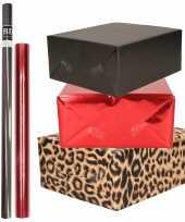 Hobby x rollen kraft inpakpapier pakket dieren metallic rood zwart