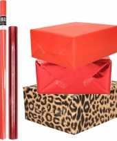 Hobby x rollen kraft inpakpapier pakket panter dieren metallic rood 10299225
