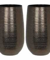 Hobby x ronde vazen bloempotten gabriel brons keramiek