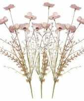 Hobby x roze papaver klaproos gedroogde kunstbloemen 10154644