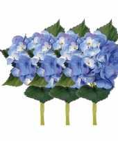 Hobby x stuks blauwe hortensia kunstbloemen steel 10125044
