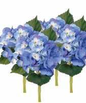 Hobby x stuks blauwe hortensia kunstbloemen steel 10125045