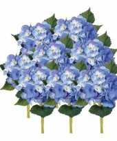 Hobby x stuks blauwe hortensia kunstbloemen steel 10125047