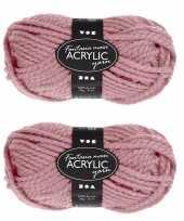 Hobby x stuks bolletjes oud roze maxi acryl garen meter 10258135