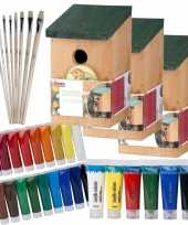 Hobby x stuks houten vogelhuisje nestkastje zelf schilderen pakket verf kwasten 10277416