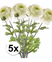 Hobby x wit groene ranonkel kunstbloemen tak
