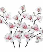 Hobby x witte roze magnolia beverboom kunsttakken kunstplanten 10163281