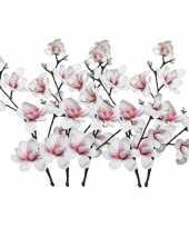 Hobby x witte roze magnolia beverboom kunsttakken kunstplanten 10163282