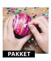 Hobby zelf pailletten kerstballen maken set 10074395
