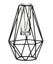 Hobby zwart metalen diamant draad vaasje glas