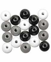 Hobby zwart wit zilver gekleurde houten kralen mm