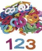 X zelfklevende hobby knutsel foam rubber cijfers glitters