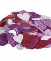 X zelfklevende hobby knutsel foam rubber hartjes glitters